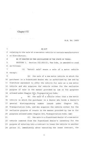 84th Texas Legislature, Regular Session, House Bill 2400, Chapter ...