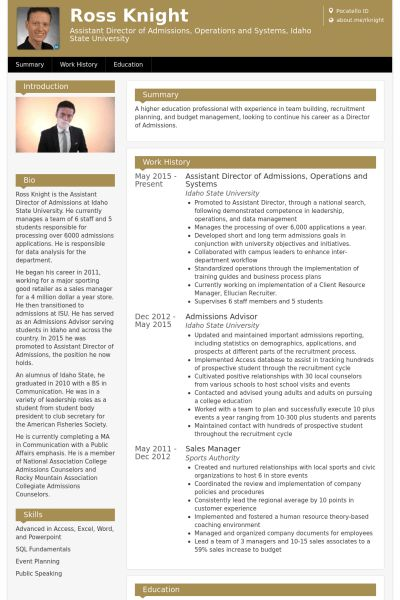 Assistant Director Resume samples - VisualCV resume samples database