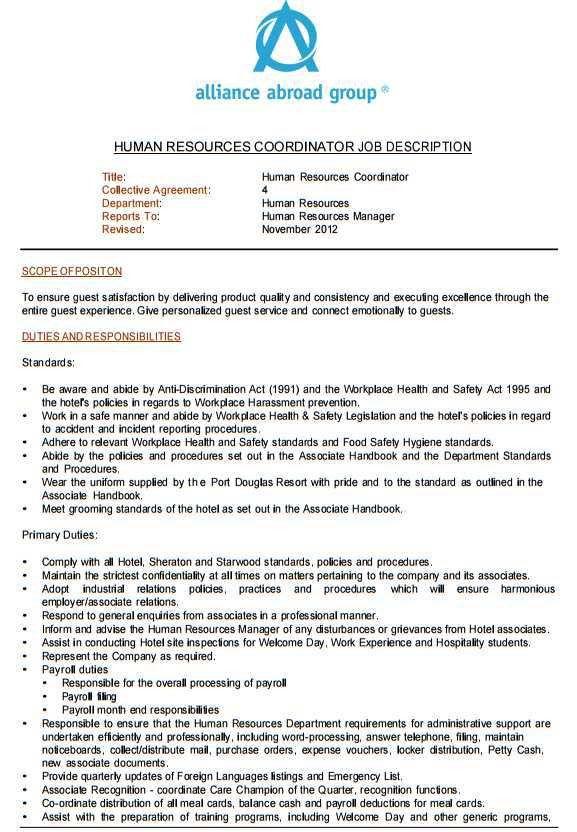 HR Coordinator Job Description - 2017-2018 StudyChaCha