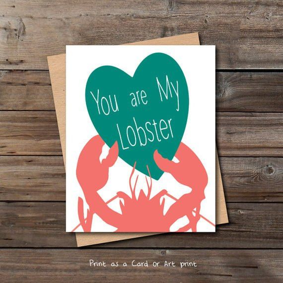 lobster love card printable download him her funny cute