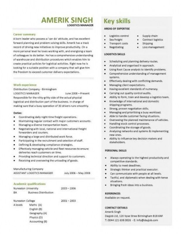 Logistics Manager Resume – Resume Examples