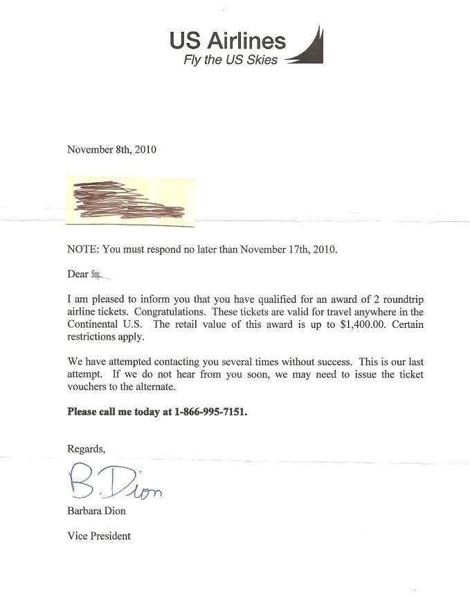 Letter from US Airlines about free airline tickets – BRIAN MORRIS ...