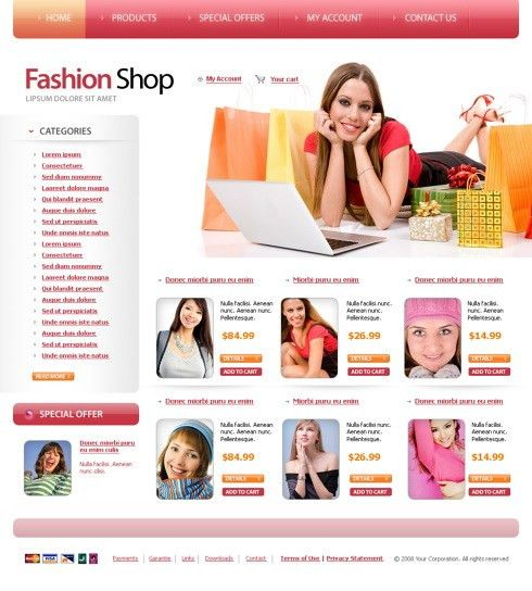 Fashion Shep Web Template - 6081 - Beauty & Fashion - Website ...