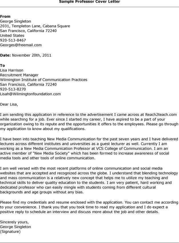 Sample Cover Letter For College Professor Job | Docoments Ojazlink