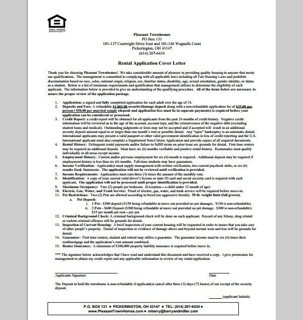 Cover Letter Template for Rental application, Format of Rental ...