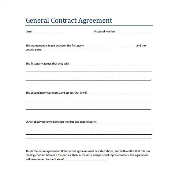 Free Download and Edit Business Contract Example for General ...