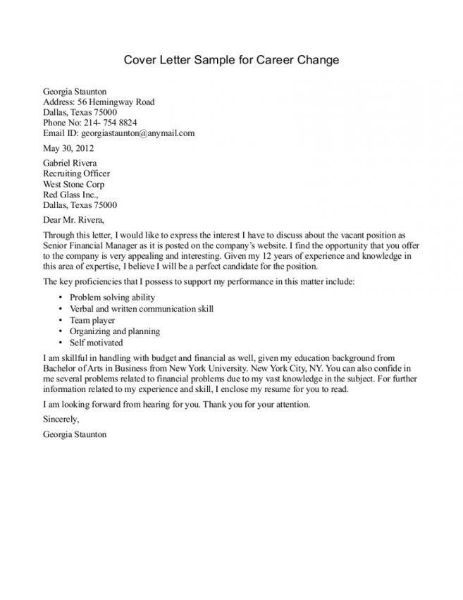 7 Career Change Cover Letter Samples Cover Letter career change ...