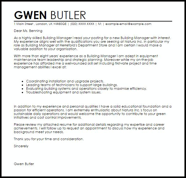 Building Manager Cover Letter Sample | LiveCareer