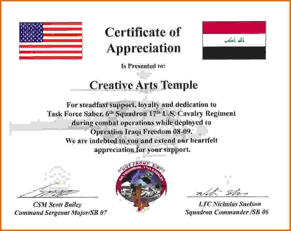 Army certificate of appreciation template sample certificate of army certificate of appreciationreference letters words yadclub