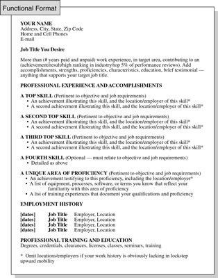 Functional Resume Format: Focusing on Skills and Experience - dummies