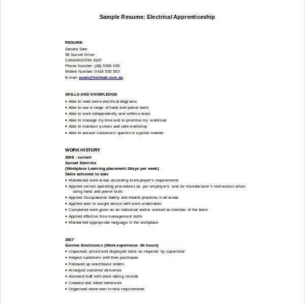 electrical apprentice resume examples
