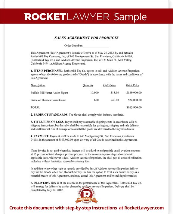 Sales Agreement Contract Template - Free Sale Agreement Form
