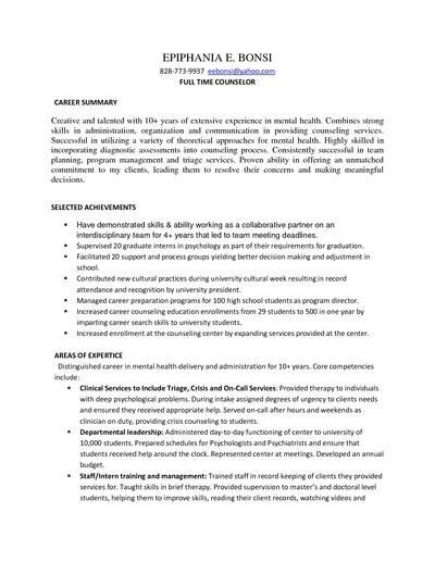 Sample Resume Mental Health Counselor - Gallery Creawizard.com