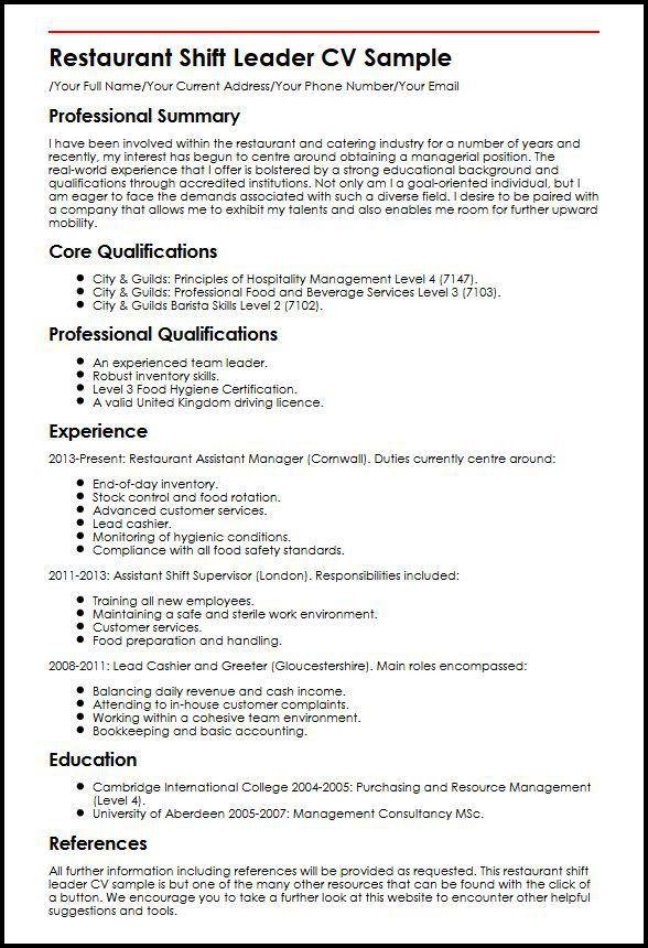 Restaurant Shift Leader CV Sample | MyperfectCV