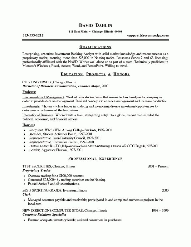 Investment Banking Analyst Resume Example | Business | Pinterest ...