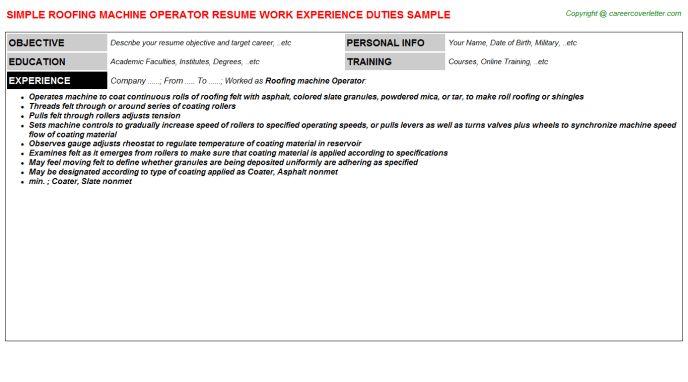 Roofing Machine Operator Job Title Docs