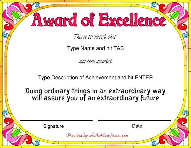 Nice Template Word for Award of Excellence with Colorful Flowers ...
