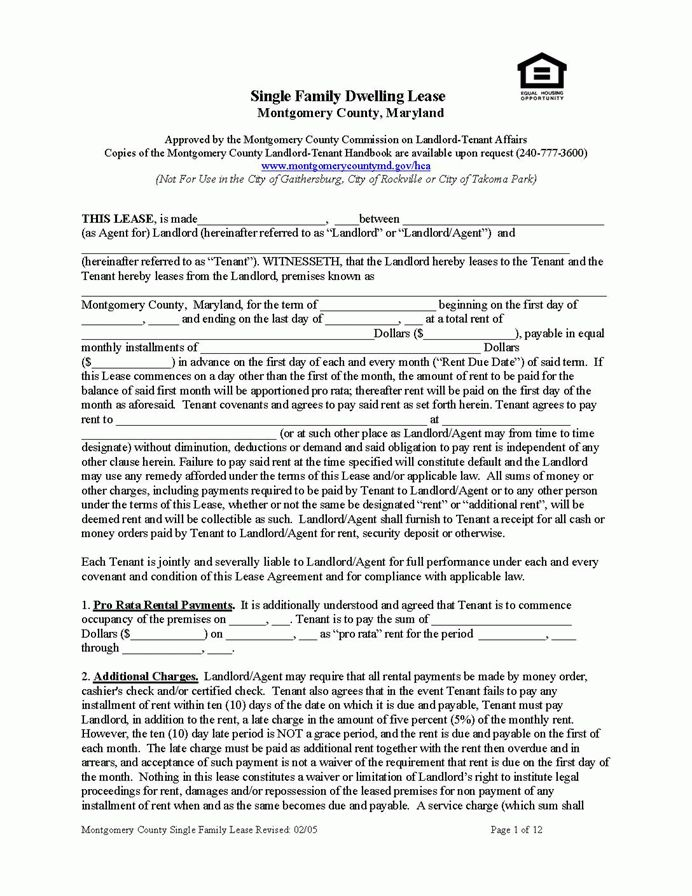Montgomery County Lease (Single-Family) | EZ Landlord Forms
