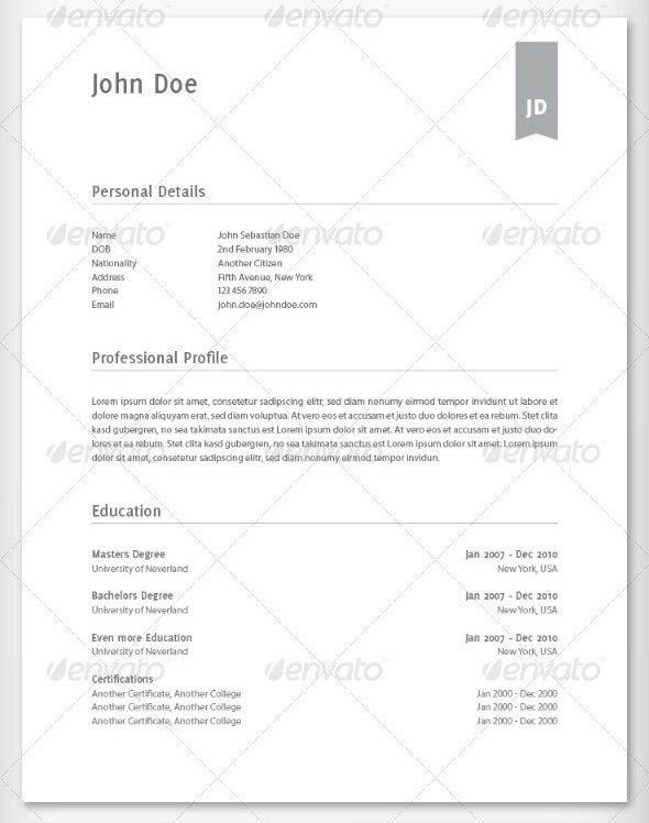 25 Best Simple Photoshop & InDesign Resume Templates   Web ...