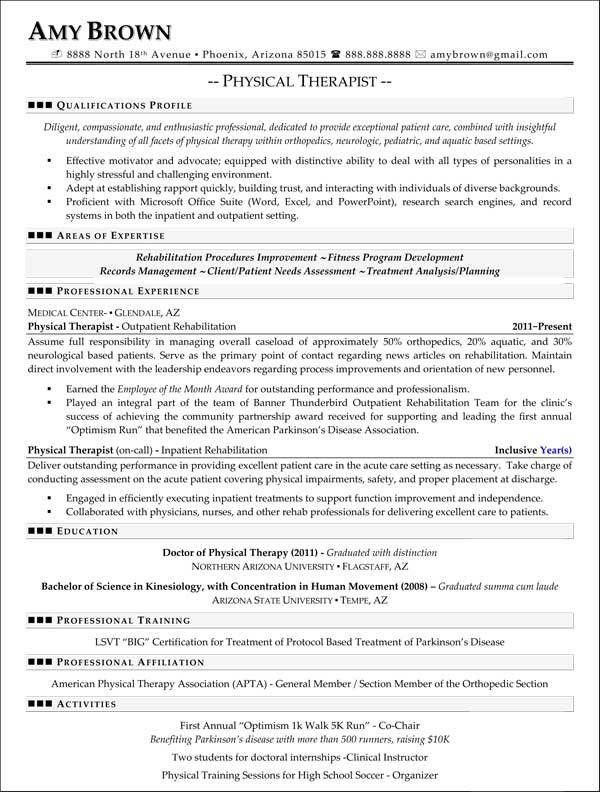 Enjoyable Design Ideas Physical Therapy Resume Sample 9 Pta ...