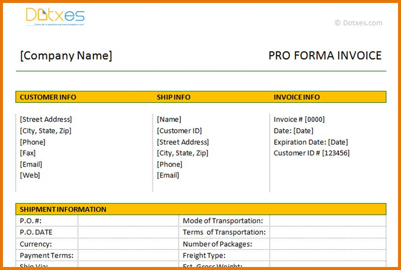 Microsoft Office Invoice Template.Proforma Invoice Template In ...