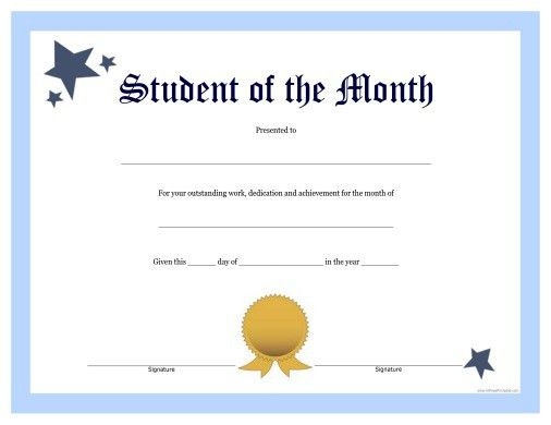 Student of the Month Certificate - Free Printable ...