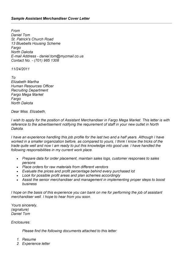 resume cover letter visual merchandising sample customer service - Merchandiser Cover Letter Sample