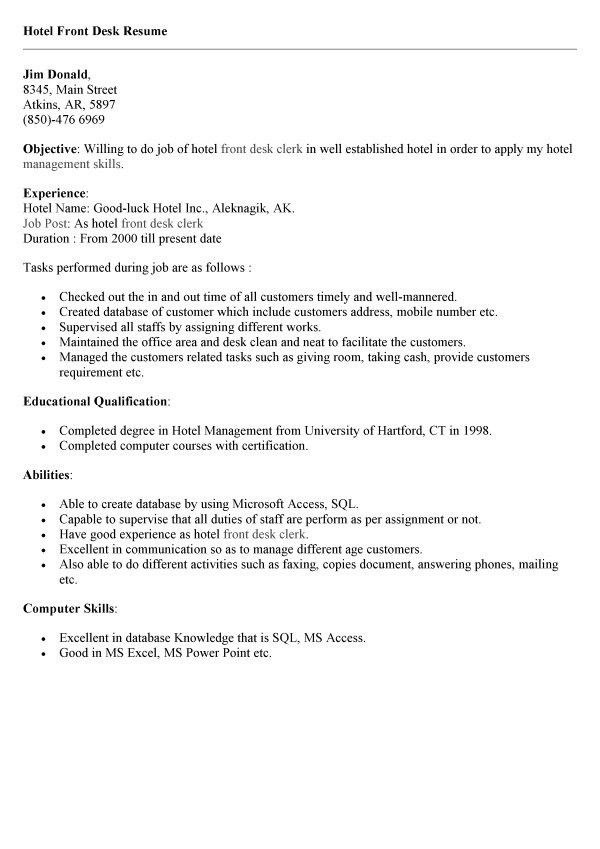 sample hotel desk clerk resume unforgettable front desk clerk