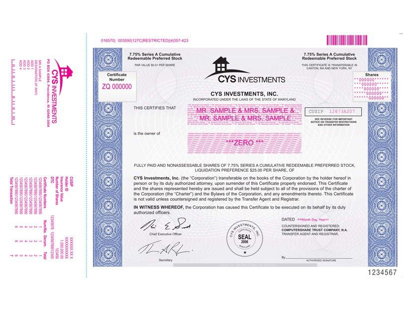Specimen of 7.75% Series A cumulative Redeemable Preferred Stock ...