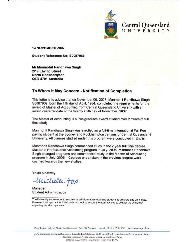 Master degree completion certificate