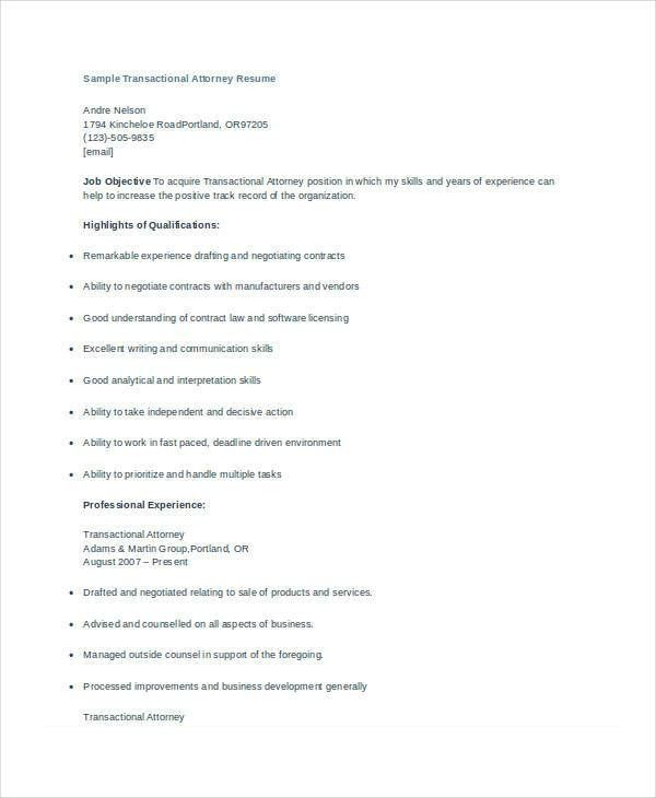 Attorney Resume - 9+ Free Word, PDF Documents Download | Free ...