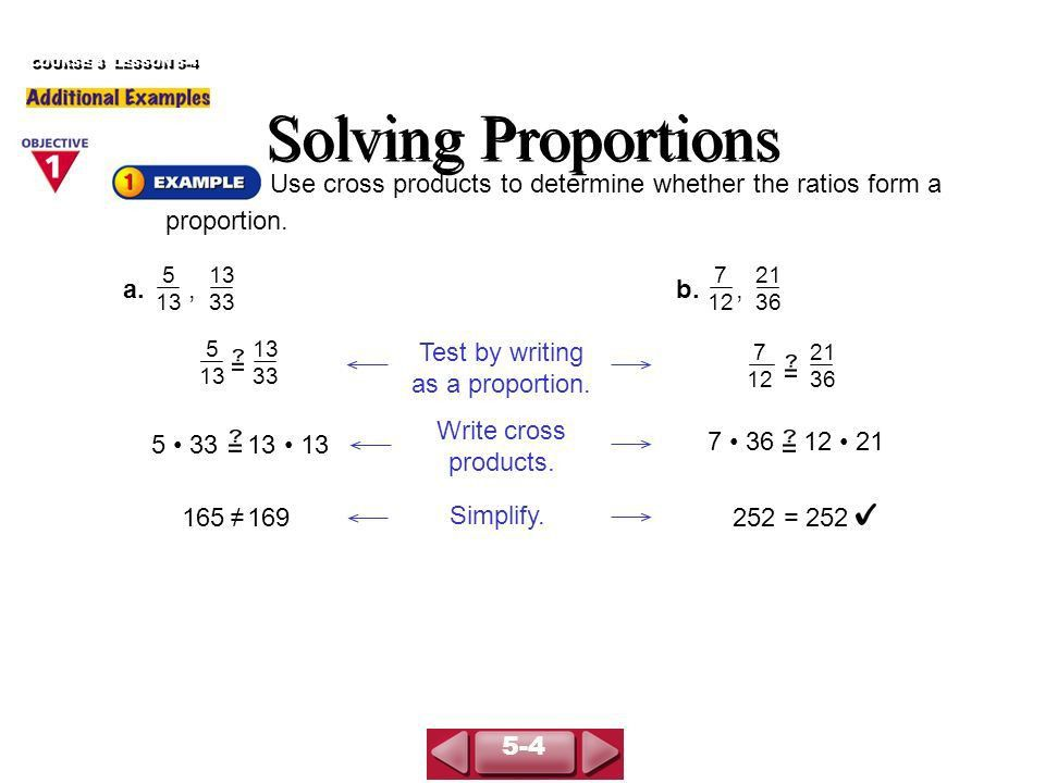 COURSE 3 LESSON 5-4 Solving Proportions - ppt download