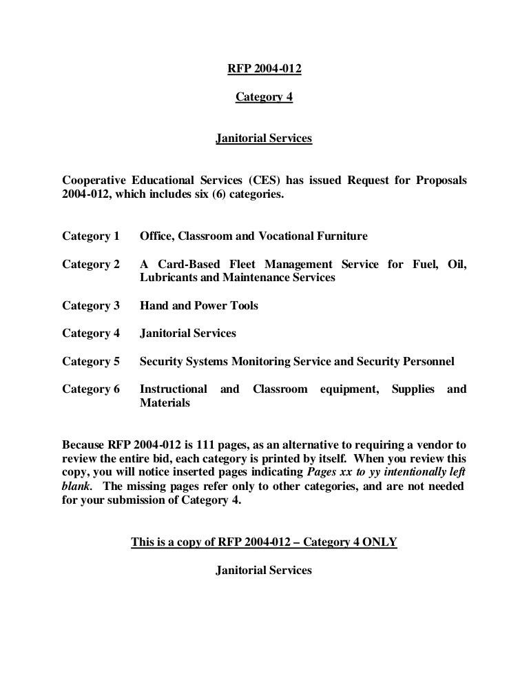 RFP 2004-012 Category 4 Janitorial Services