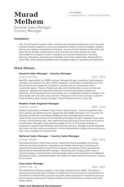General Sales Manager Resume samples - VisualCV resume samples ...