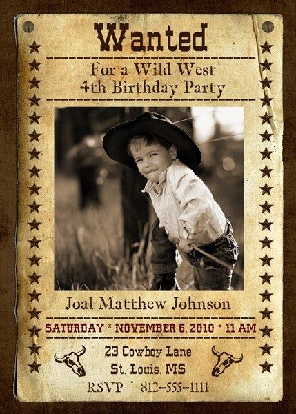 5x7 Wanted Poster Birthday Party Invitation by Divas3Design ...