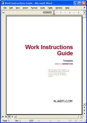 Cover Page on Work Instructions Template - a photo on Flickriver