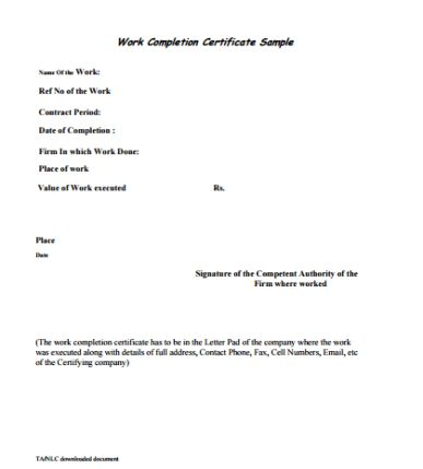 Civil Work Completion Certificate Template Archives - Templates Front