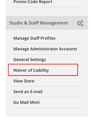 Waiver of Liability (Online Waivers) - StudioBookingsOnline