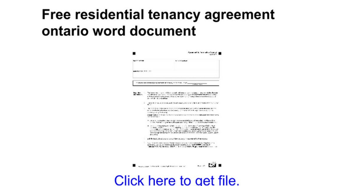 Free residential tenancy agreement ontario word document - Google Docs