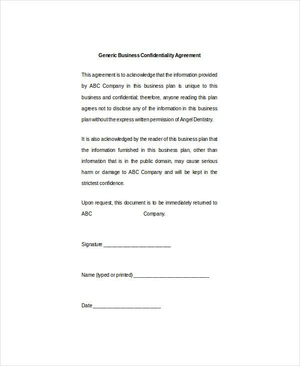 10+ Business Confidentiality Agreement Templates – Free Sample ...