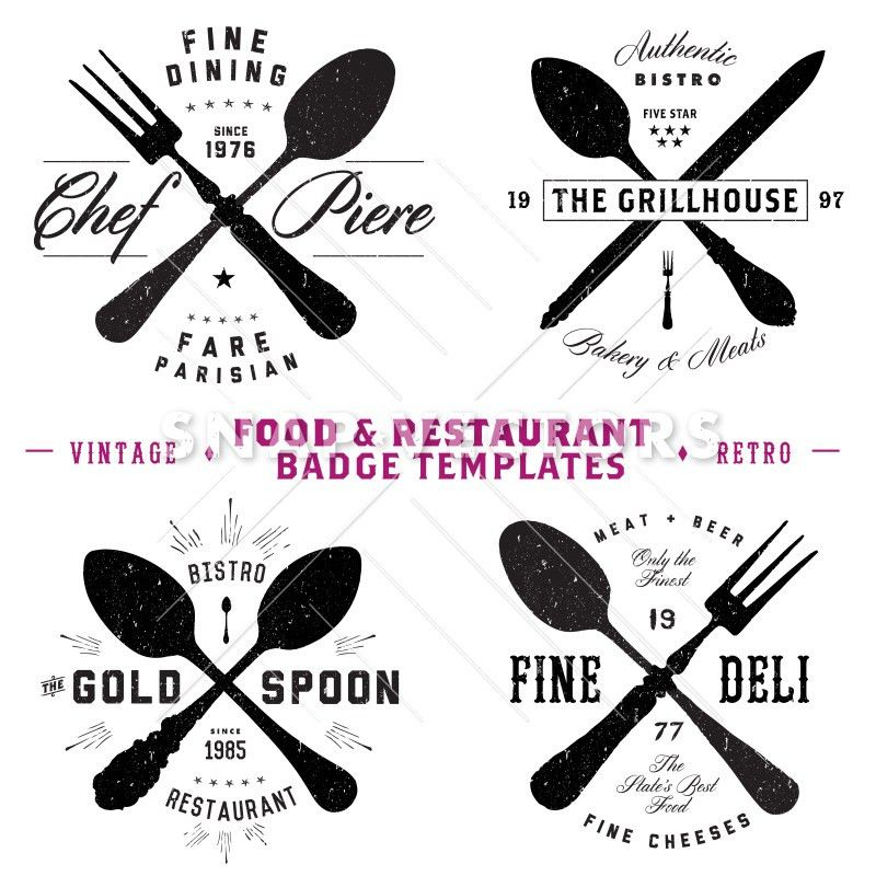 Vector Restaurant and Food Logo and Badge Templates - Snap Vectors
