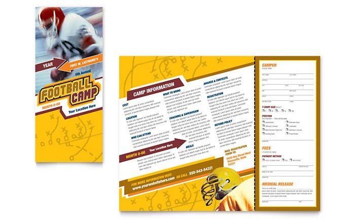 Football Sports Camp Brochure Template Design