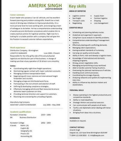 Logistics Manager Resume Template - Sample Resume Cover Letter Format