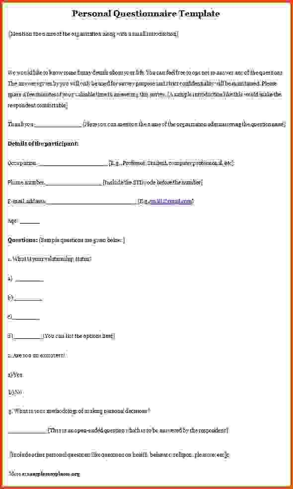 Questionnaire Template.Personal Questionnaire Template.jpg ...