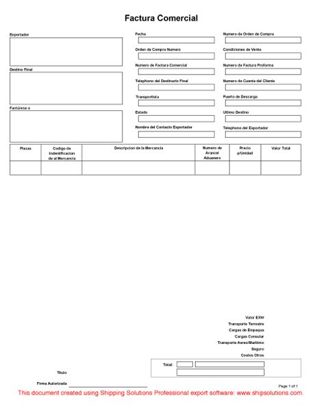 Commercial Invoice (Spanish)