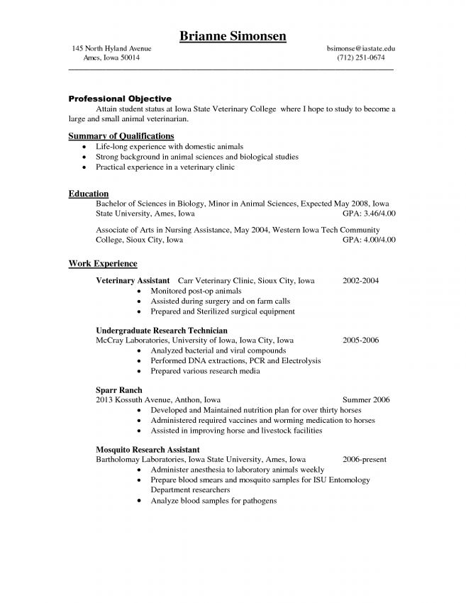 veterinarian resume veterinary resume occupationalexamplessamples