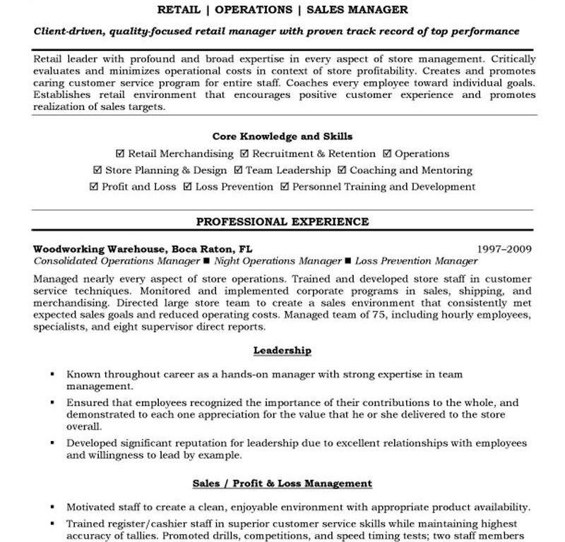 Bright Inspiration Resume Retail 9 Operations And Sales Manager ...