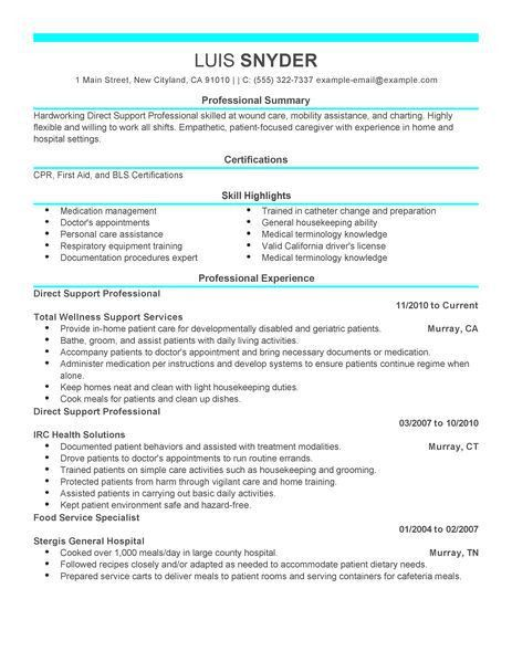Best Direct Support Professional Resume Example   LiveCareer