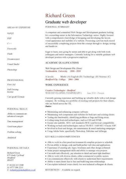 Resume Format For Graduates - Resume Sample