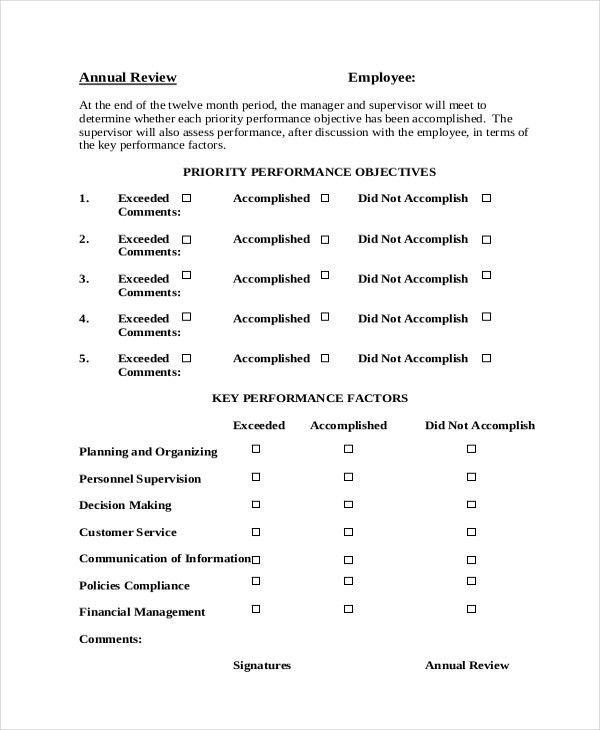 Sample Personal Appraisal Form - Free Documents in PDF, Doc